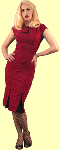 Daddy O's :  red bombshell dress black pleats daddyos